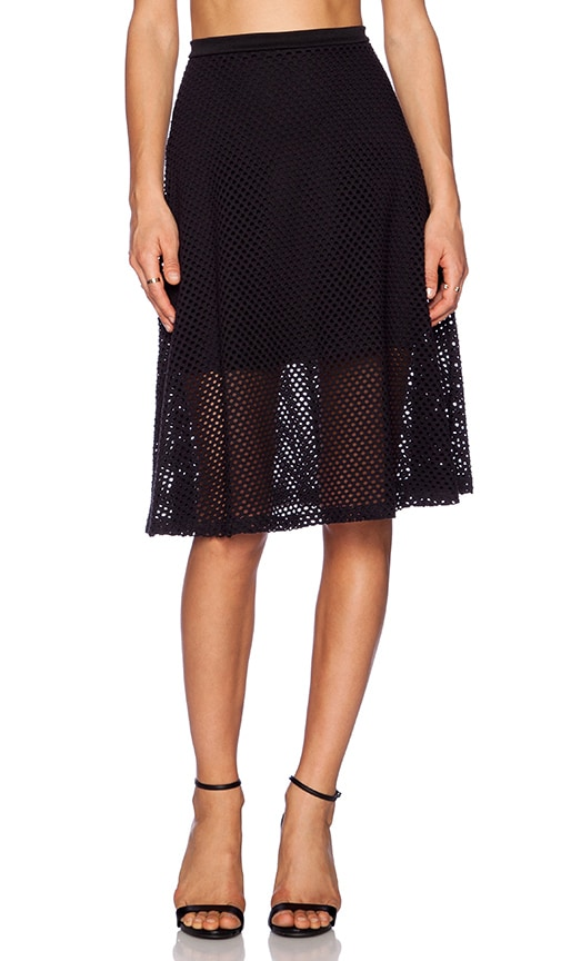 eight sixty fish net midi skirt in black revolve
