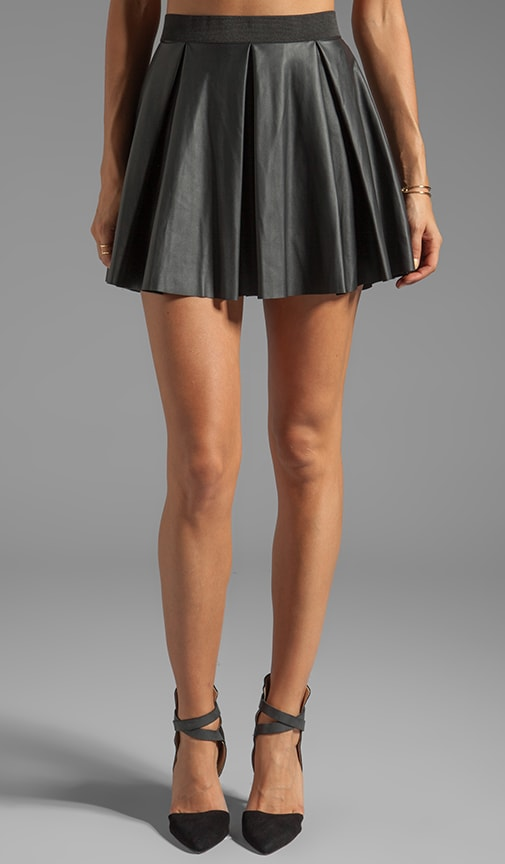 Faux Leather Swing Skirt