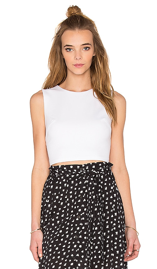 Eight Sixty Ponte Crop Top in White