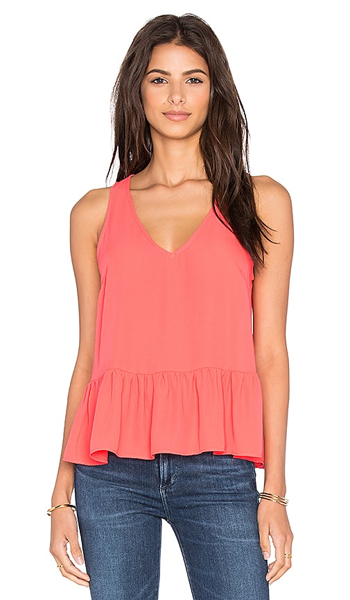 Eight Sixty Ruffle Tank in Coral