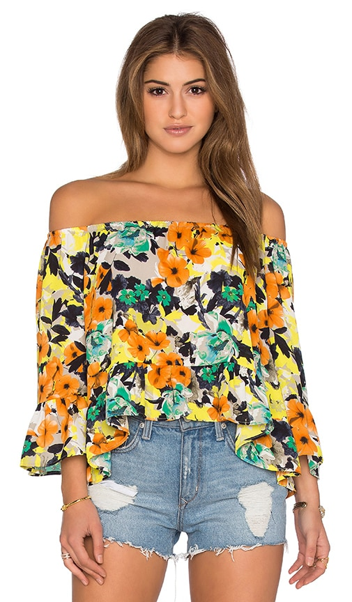 Eight Sixty Poppy Garden Top in Yellow