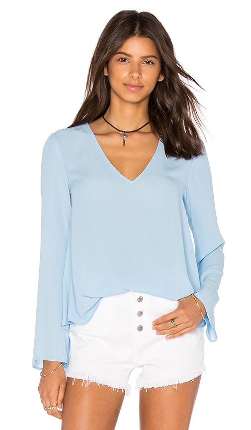 Eight Sixty Long Sleeve V Neck Blouse in Blue
