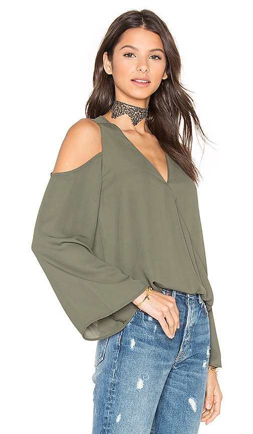 Eight Sixty Cut Out Shoulder Top in Green