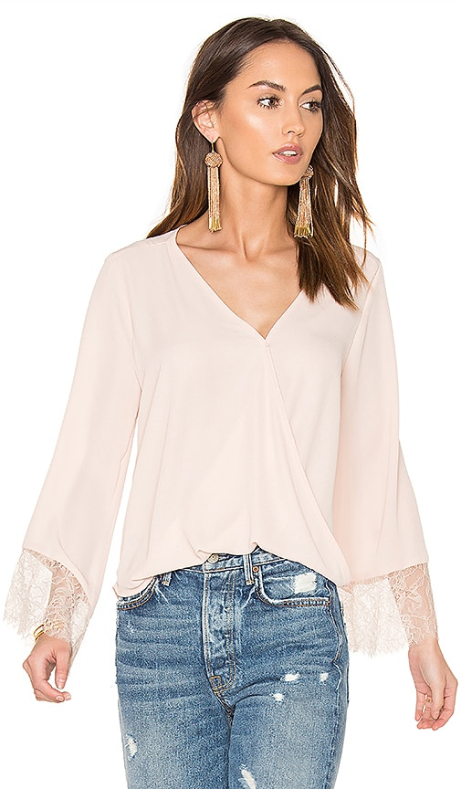 Eight Sixty Wrap Front Bell Sleeve Lace Top in Blush