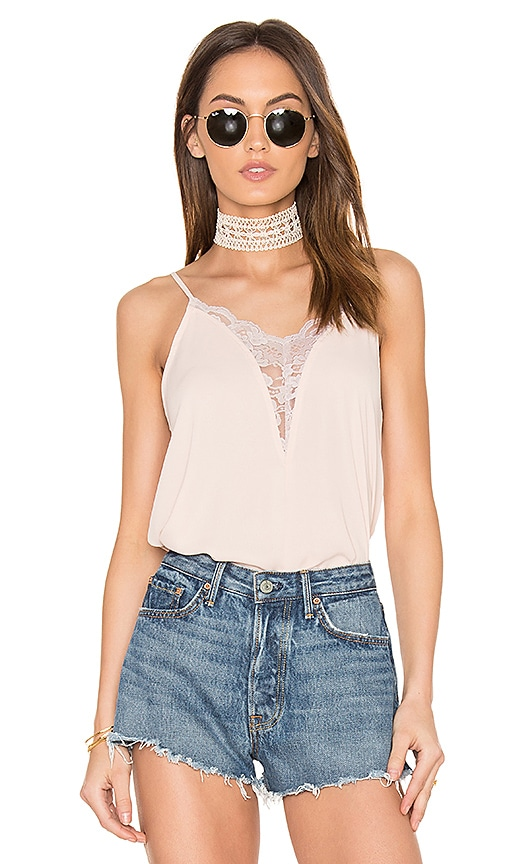 Eight Sixty Lace Trim Tank in Blush