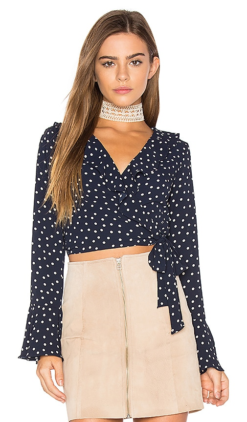 Eight Sixty Polka Dot Wrap Top in Navy