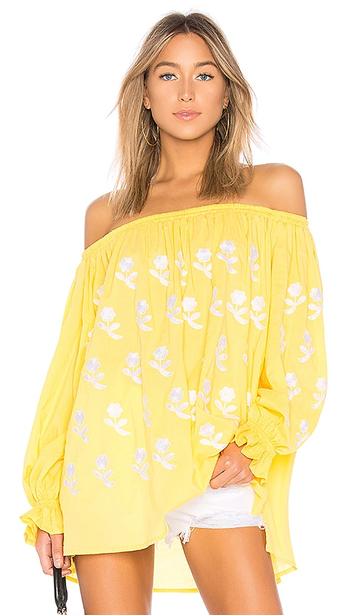 Eleven by March 11 Flower Power Off The Shoulder Top in Mustard