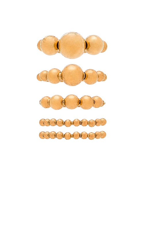 Elizabeth Cole Ring Set in Metallic Gold