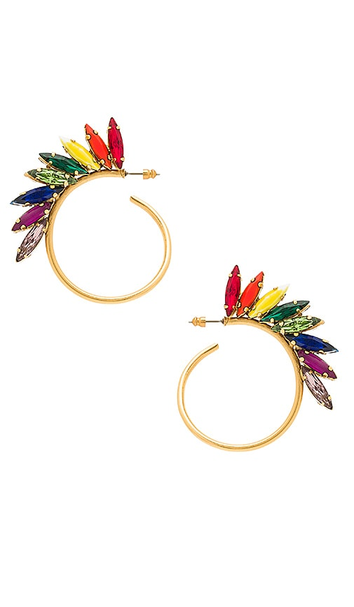 Elizabeth Cole Rainbow Hoops in Metallic Gold