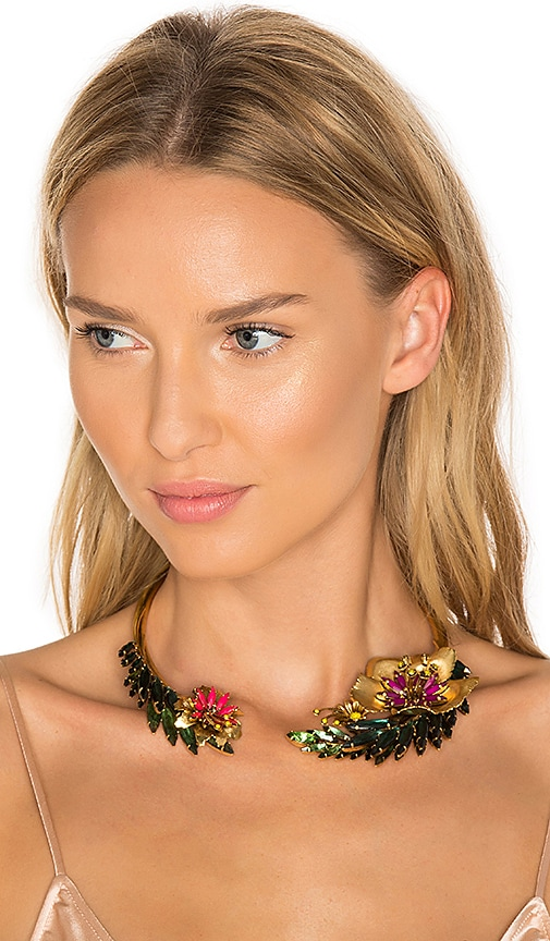 Elizabeth Cole Flower Choker in Metallic Gold