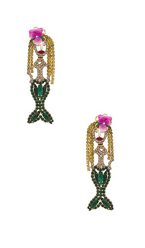 Elizabeth Cole Ariel Statement Earrings in Green