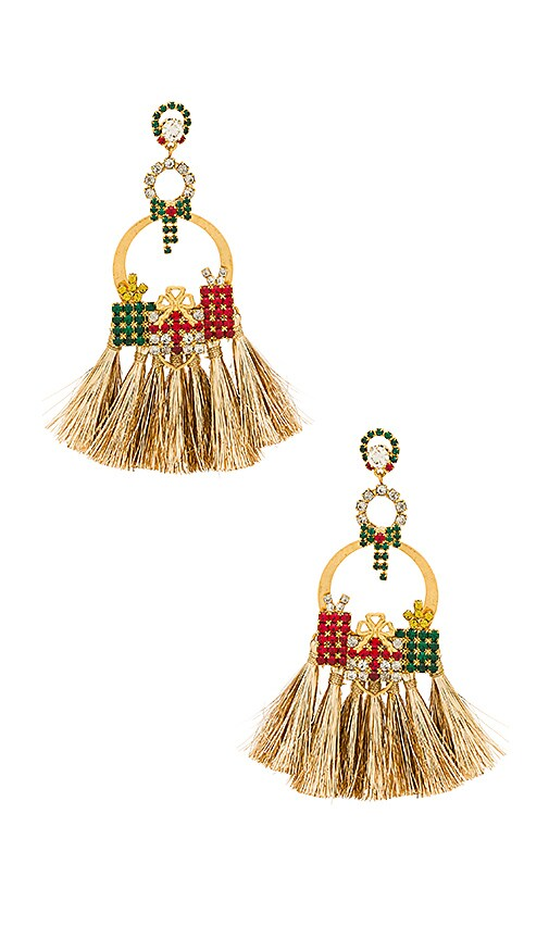 Elizabeth Cole Tinsel Earrings in Metallic Gold