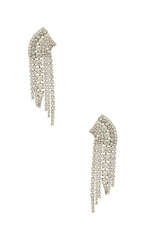 Elizabeth Cole x REVOLVE Crystal Waterfall Earring in Metallic Silver