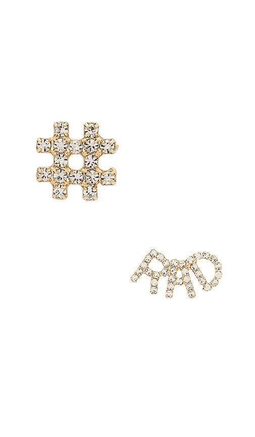 Elizabeth Cole Hashtag RAD Earring in Crystal