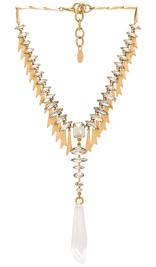 Elizabeth Cole Pointed Crystal Necklace in Golden Glow