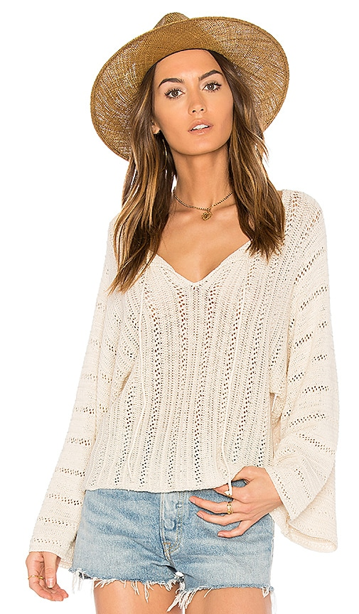 Ella Moss Caprisa Crochet Sweater in Ivory
