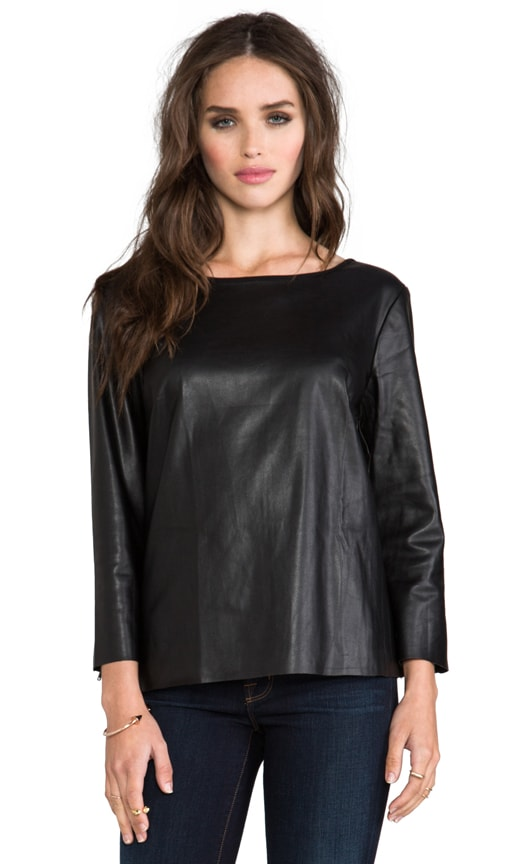 Sandra Faux Leather Long Sleeve Top