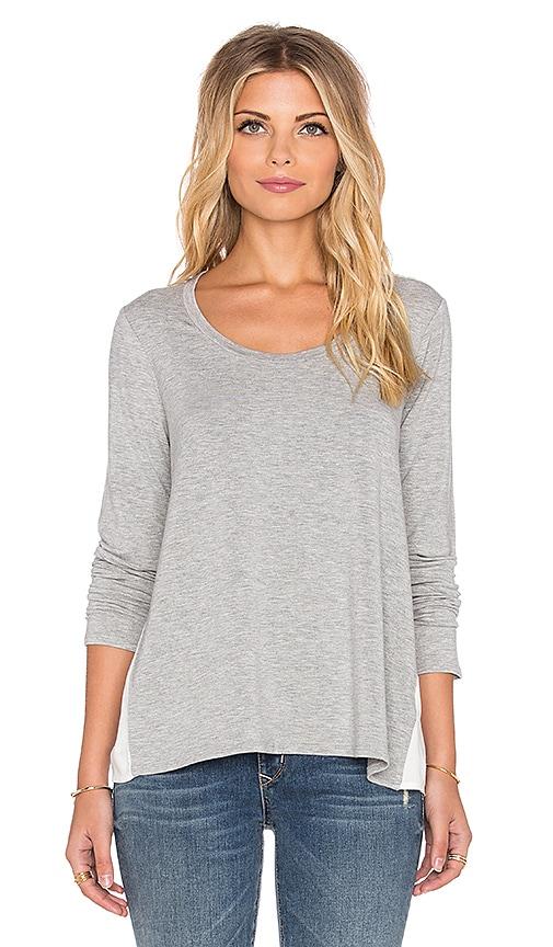 Ella Moss Sanaa Long Sleeve Top in Heather Grey & Natural