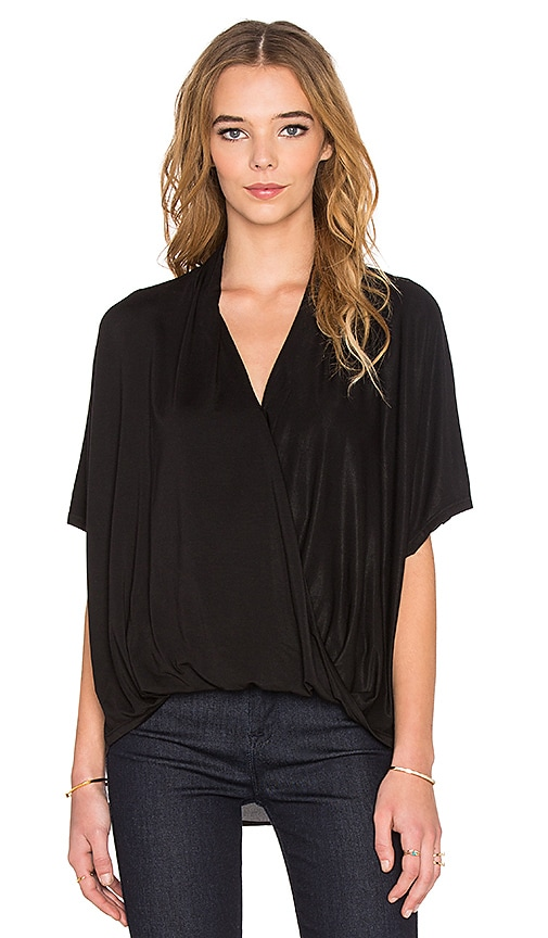 Ella Moss Cross Front Top in Black
