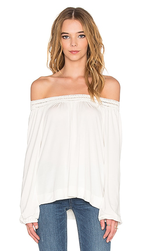 Ella Moss Peasant Top in Natural