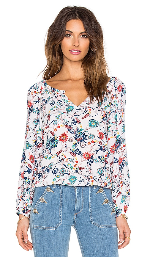 Ella Moss Dolce Flora Peasant Top in White