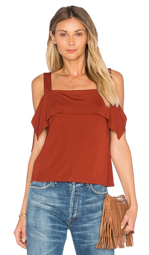 Ella Moss Thabo Cold Shoulder Top in Brown