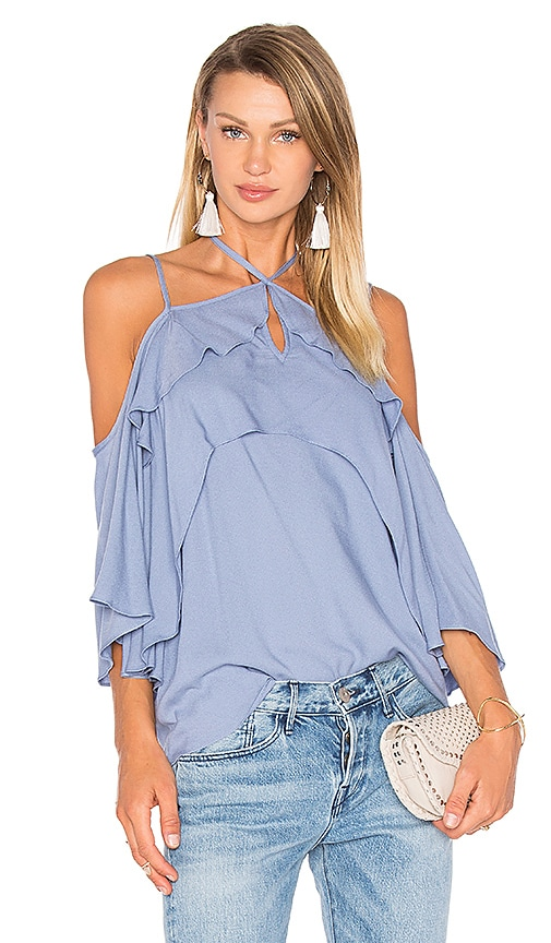 Ella Moss Stella Cold Shoulder Top in Blue