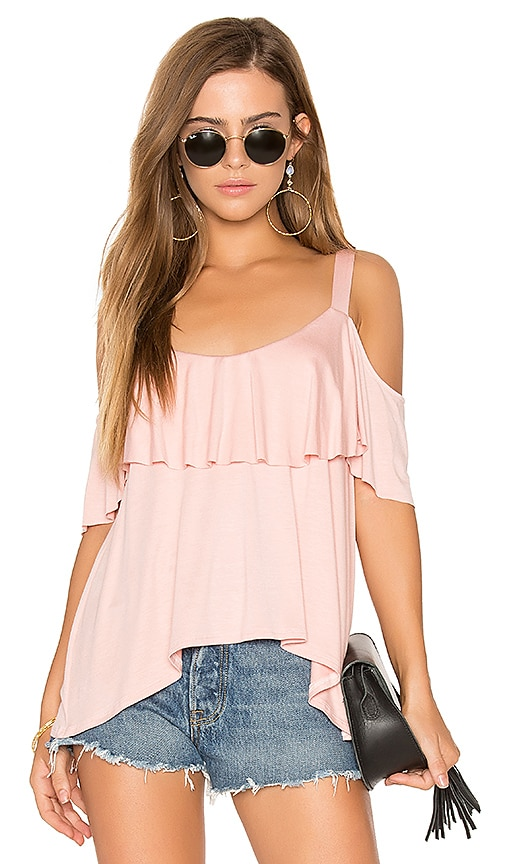 Ella Moss Bella Cold Shoulder Top in Pink