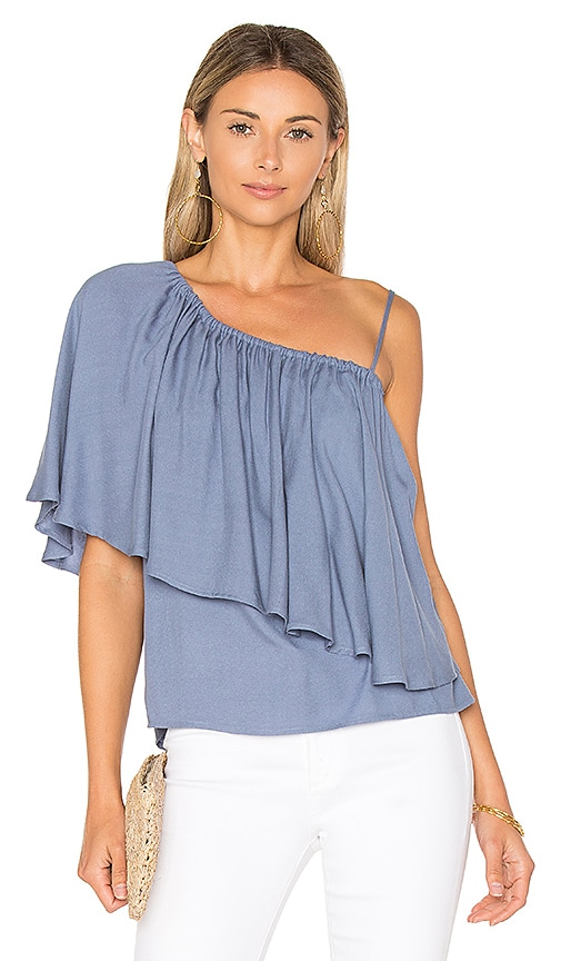 Ella Moss Stella One Shoulder Top in Blue