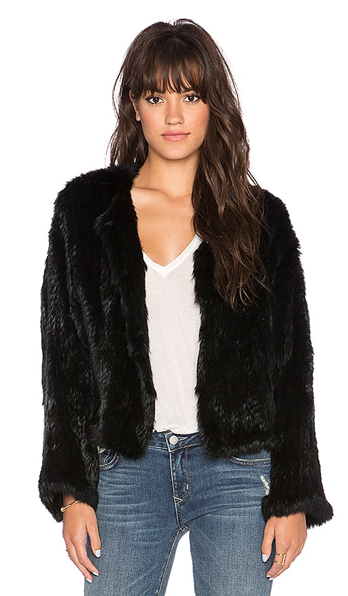 ELLIATT Moment Rabbit Fur Jacket in Black | REVOLVE