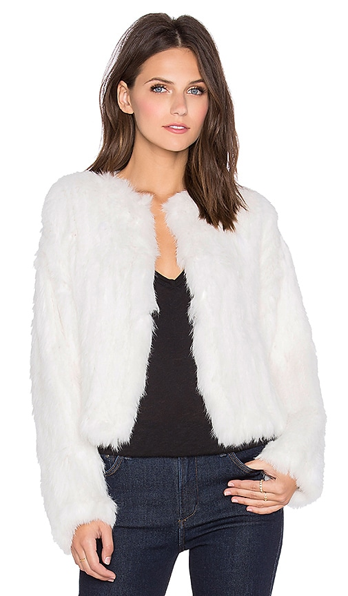 ELLIATT Moment Rabbit Fur Jacket in White