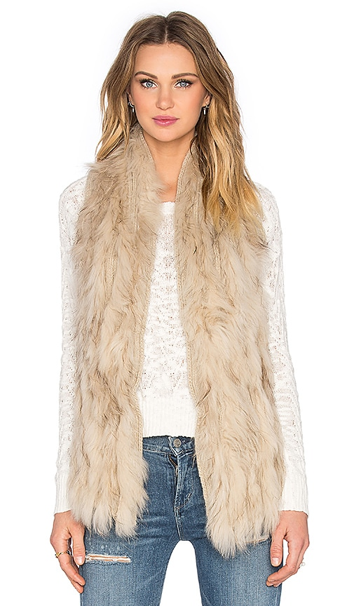 ELLIATT Liberty Raccoon Fur Vest in Sand