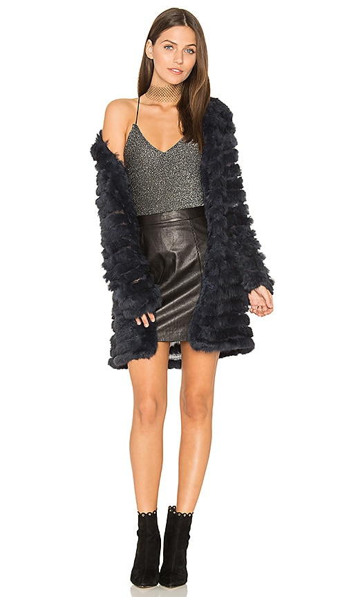 ELLIATT Darkness Rabbit Fur Jacket in Navy