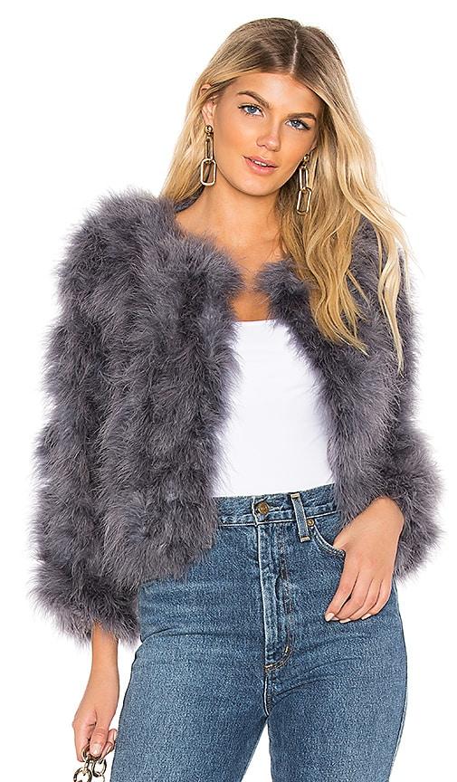 9f19b89cd6b ELLIATT Hepburn Ostrich Feather Jacket in Ash | REVOLVE
