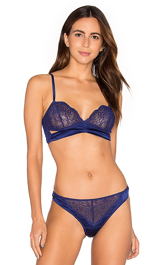 else Signature Soft Cup Cut Out Triangle Bra in Blue