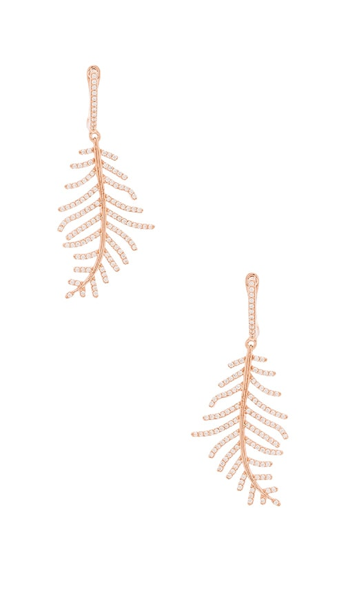 Ettika Luxe Leaf Earring in Rose Gold