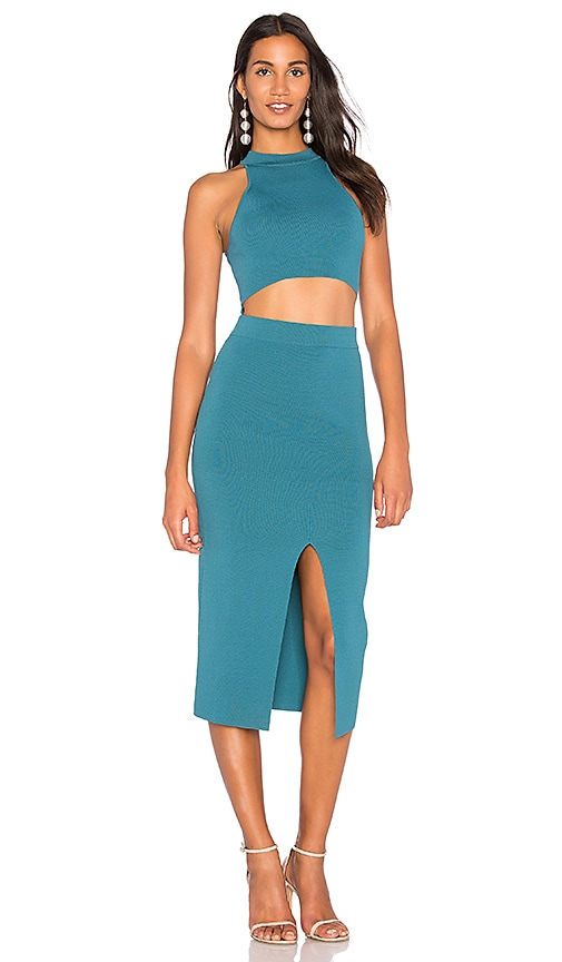 Endless Rose Cut Out Knit Bodycon Dress in Teal