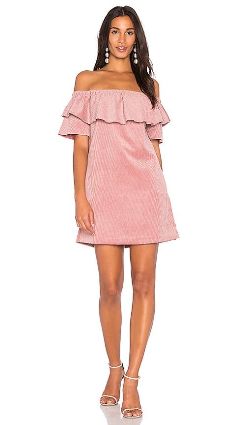 Endless Rose Ribbed Velvet Off Shoulder Dress in Pink