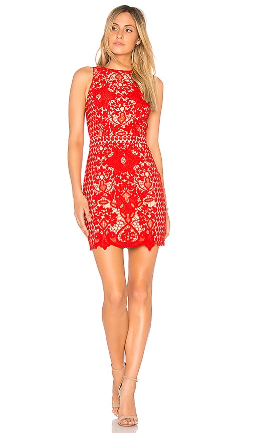 Endless Rose x REVOLVE High Neck Floral Crochet Dress in Red
