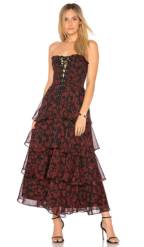 Endless Rose Night Blossom Maxi Dress in Black
