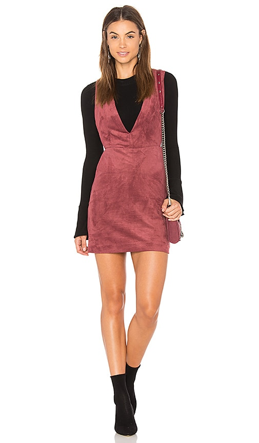 Endless Rose Suede Overall Dress in Red
