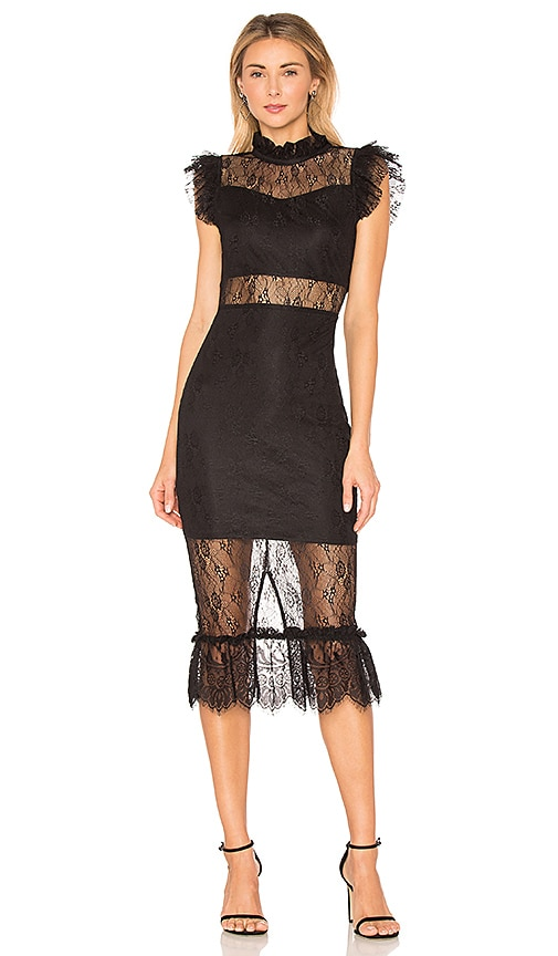 Endless Rose Lace Midi Dress in Black