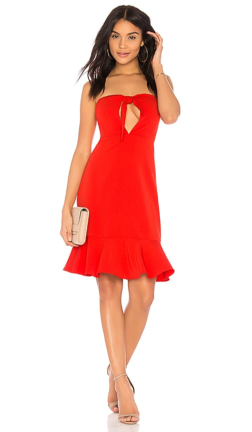 Endless Rose Bow Tie Strapless Dress in Red