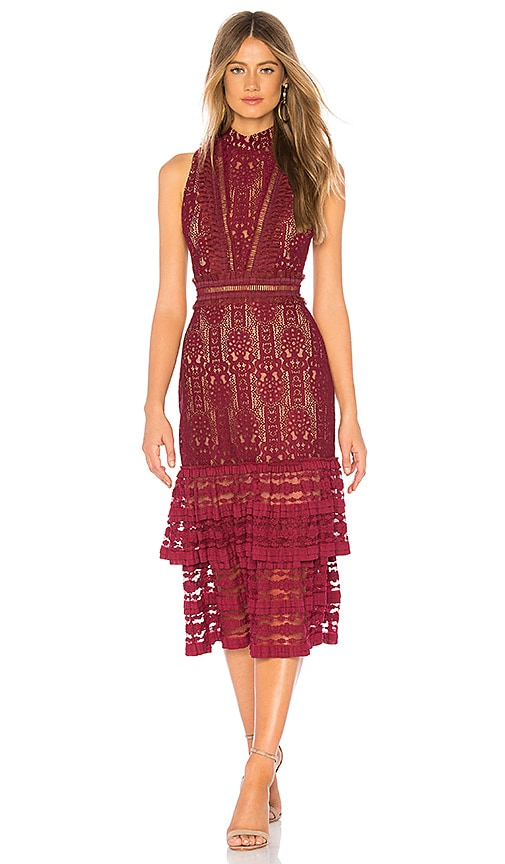 Endless Rose Plunge Back Midi Dress in Burgundy  56bd5ffdc