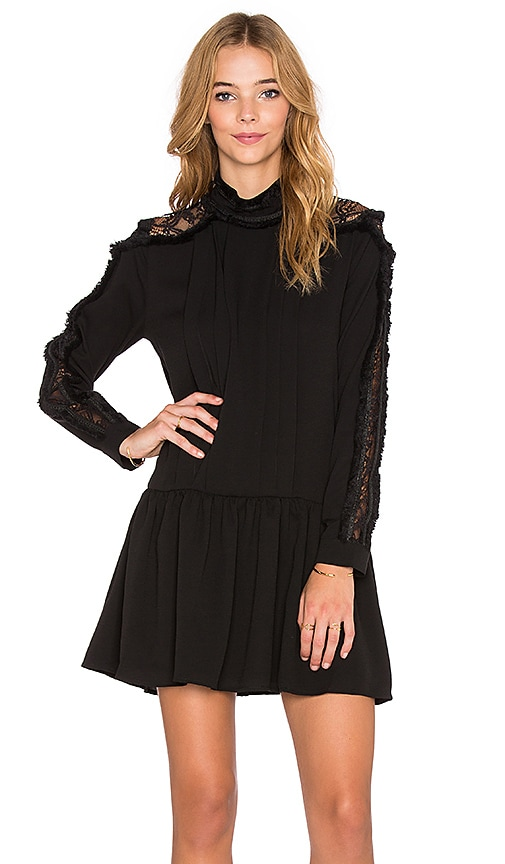 Endless Rose Pintuck Lace Dress in Black