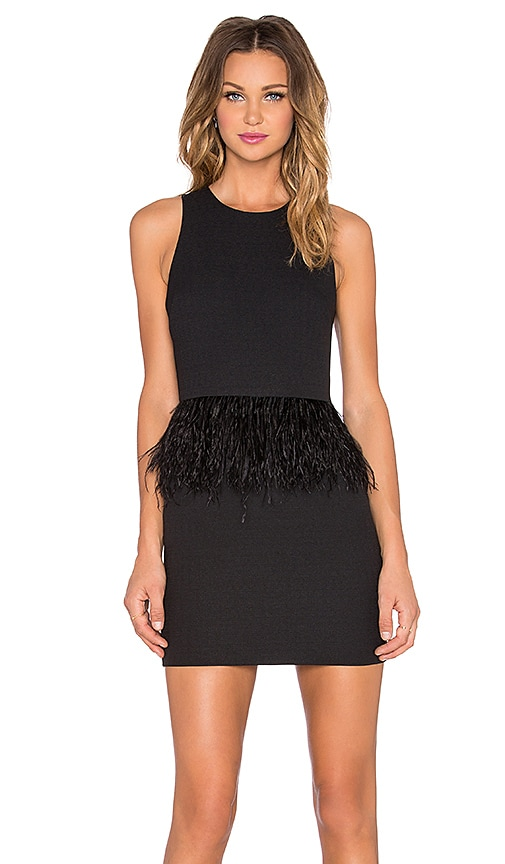 Endless Rose Feather Mini Dress in Black
