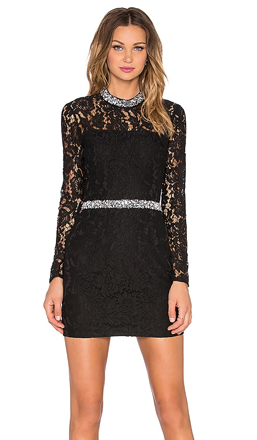 Endless Rose Jeweled Lace Dress in Black