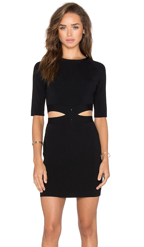 Endless Rose Cutout Short Sleeve Dress in Black