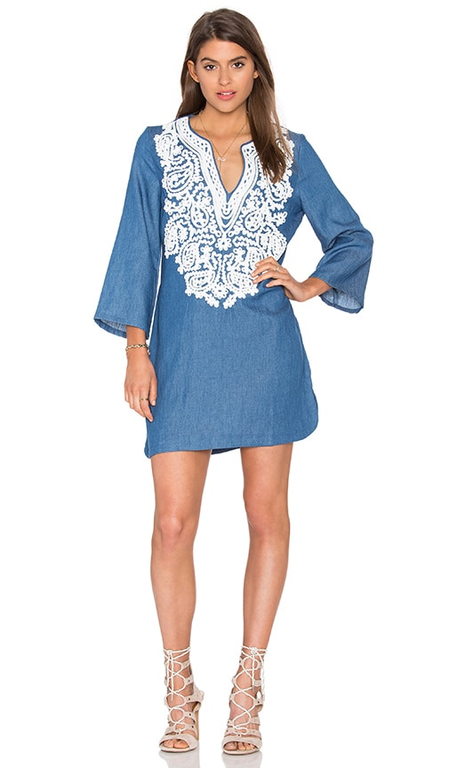 Endless Rose Embroidered Denim Shift Dress in Blue