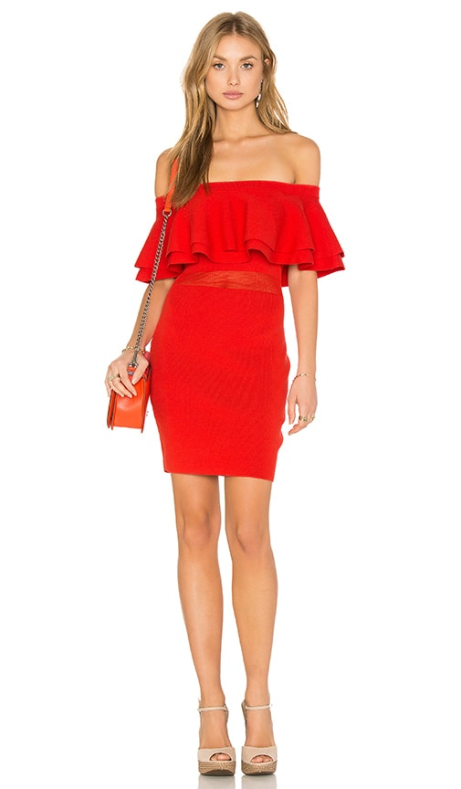 Endless Rose Off The Shoulder Ruffle Dress in Red